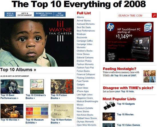 Time Magazine: 50 Top 10 λίστες για το 2008