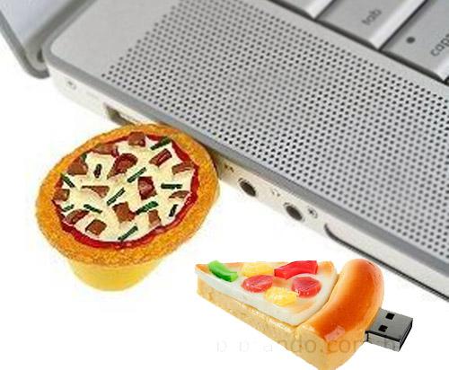 Realistic usb flash drives pizza