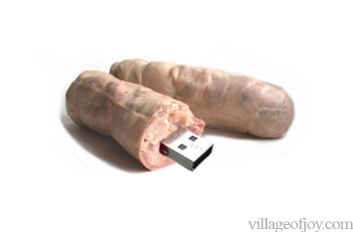 Realistic usb flash drives sausage