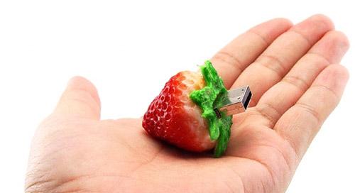 Realistic usb flash drives strawberry