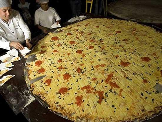 Στρογγυλή πίτσα διαμέτρου 2,2 μέτρων