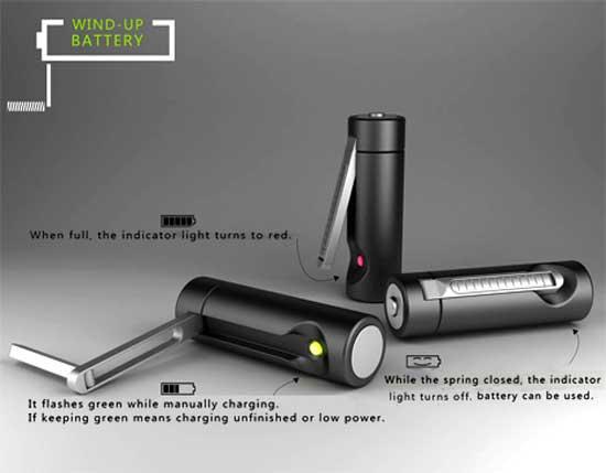 Επαναφορτιζόμενες μπαταρίες με μανιβέλα