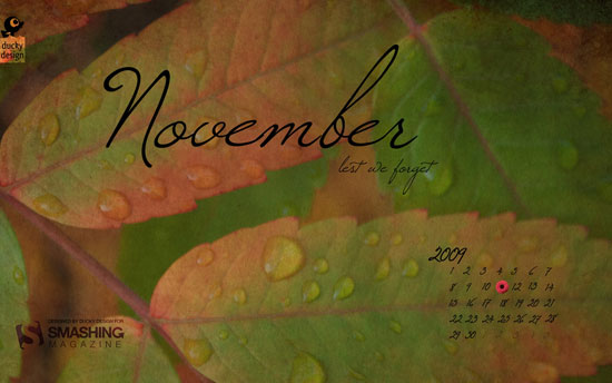 Wallpaper ημερολόγιο Νοεμβρίου 2009