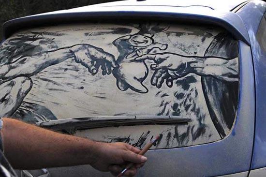 Απίστευτη τέχνη σε σκονισμένα τζάμια αυτοκινήτων (3)