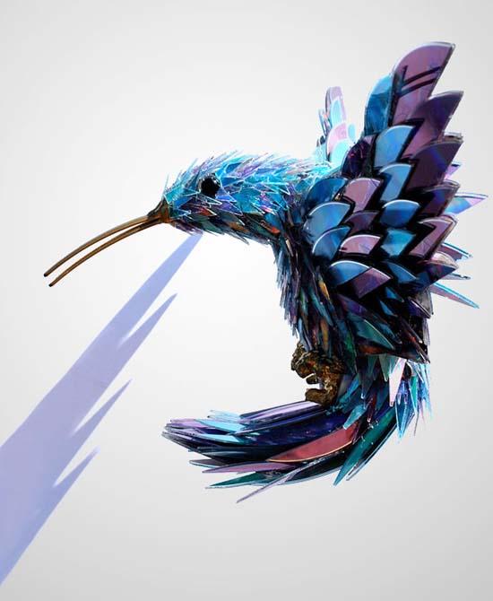 Γλυπτά ζώων από σπασμένα CDs (1)