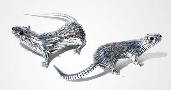 Γλυπτά ζώων από σπασμένα CDs (15)