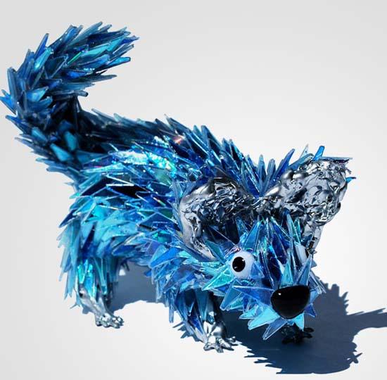 Γλυπτά ζώων από σπασμένα CDs (20)