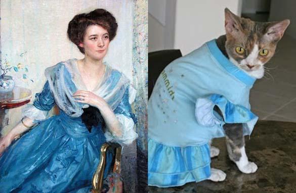 Όταν οι γάτες μιμούνται διάσημους πίνακες ζωγραφικής... (1)