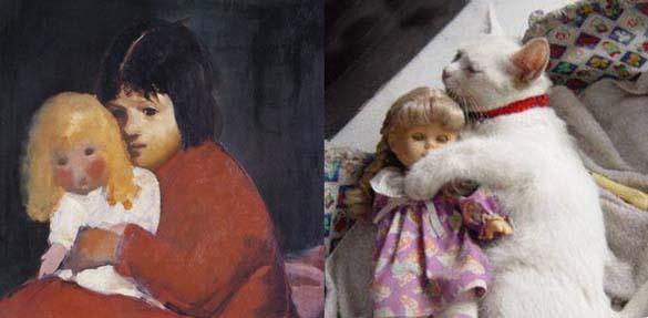 Όταν οι γάτες μιμούνται διάσημους πίνακες ζωγραφικής... (15)