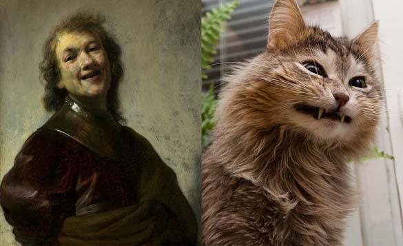 Όταν οι γάτες μιμούνται διάσημους πίνακες ζωγραφικής... (16)