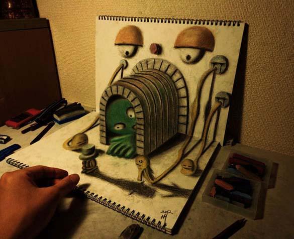 Εκπληκτικά 3D σκίτσα από τον Nagai Hideyuki (6)
