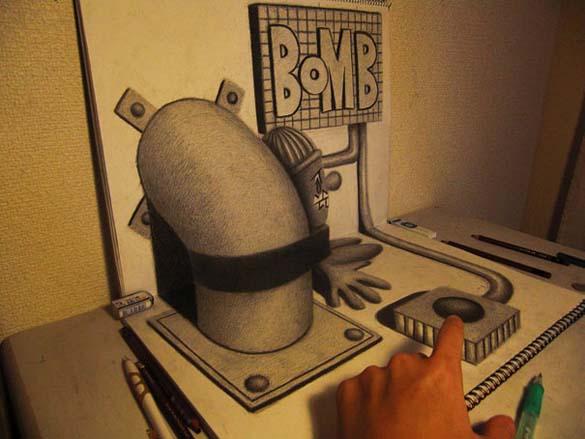 Εκπληκτικά 3D σκίτσα από τον Nagai Hideyuki (14)