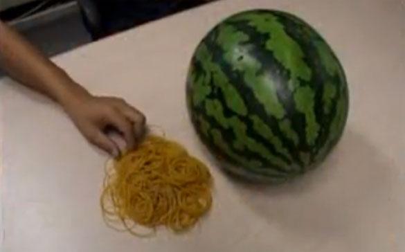 Τι θα συμβεί αν βάλεις δεκάδες λαστιχάκια σε ένα καρπούζι;