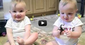 Δίδυμα μωρά κοροϊδεύουν το φτέρνισμα του μπαμπά (Video)
