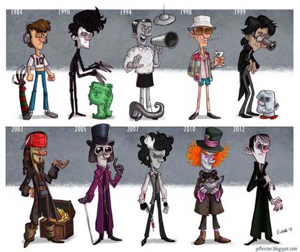 Η εξέλιξη διάσημων ηθοποιών μέσα από αστείες σκιτσογραφίες (1)