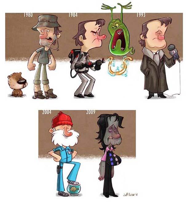 Η εξέλιξη διάσημων ηθοποιών μέσα από αστείες σκιτσογραφίες (3)