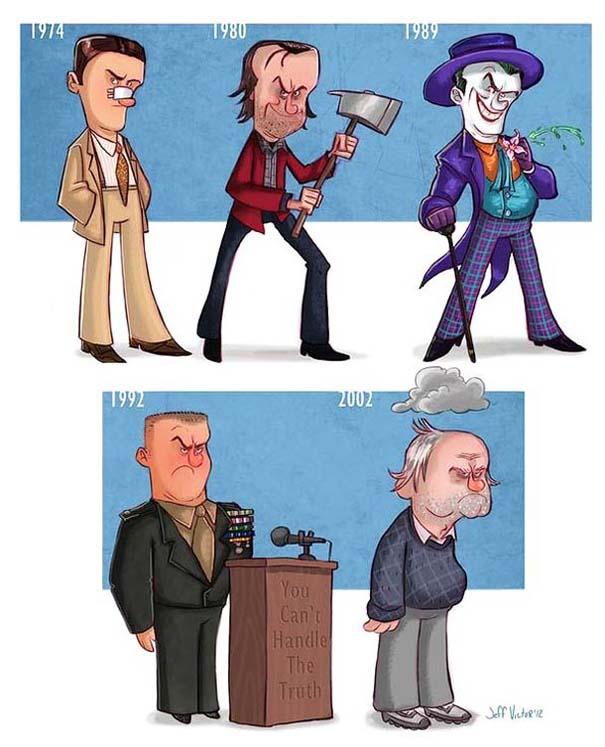 Η εξέλιξη διάσημων ηθοποιών μέσα από αστείες σκιτσογραφίες (4)