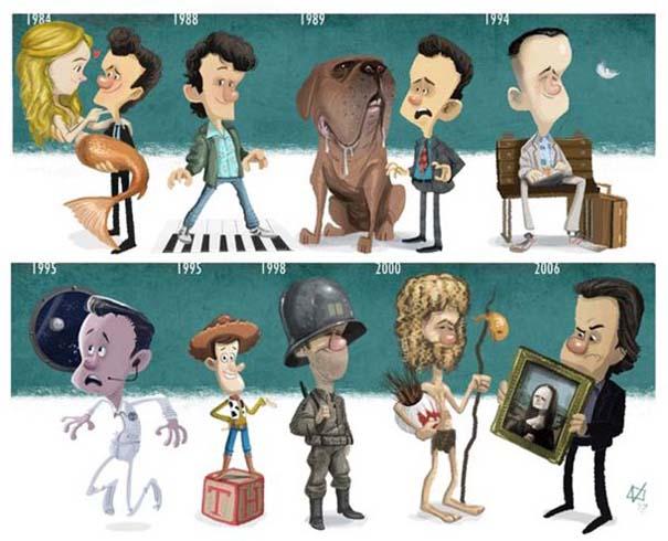 Η εξέλιξη διάσημων ηθοποιών μέσα από αστείες σκιτσογραφίες (9)