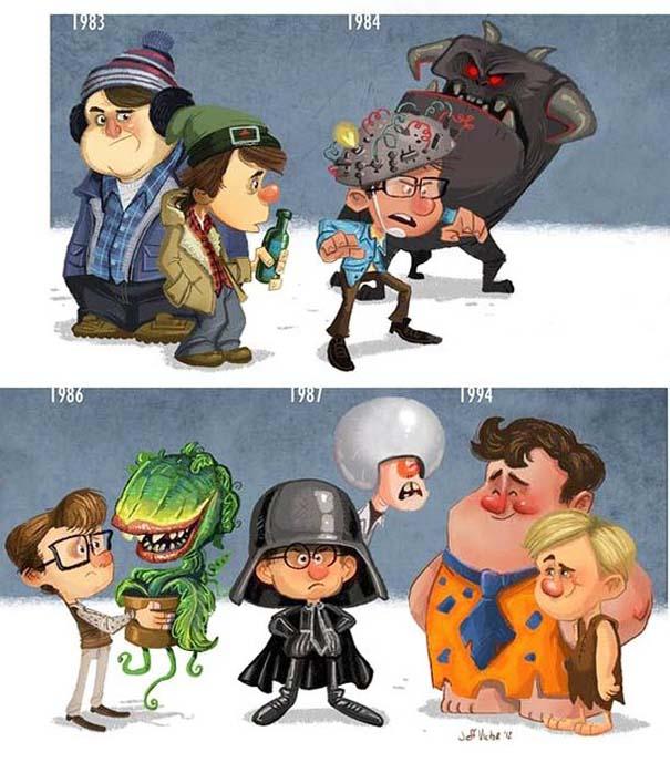 Η εξέλιξη διάσημων ηθοποιών μέσα από αστείες σκιτσογραφίες (10)