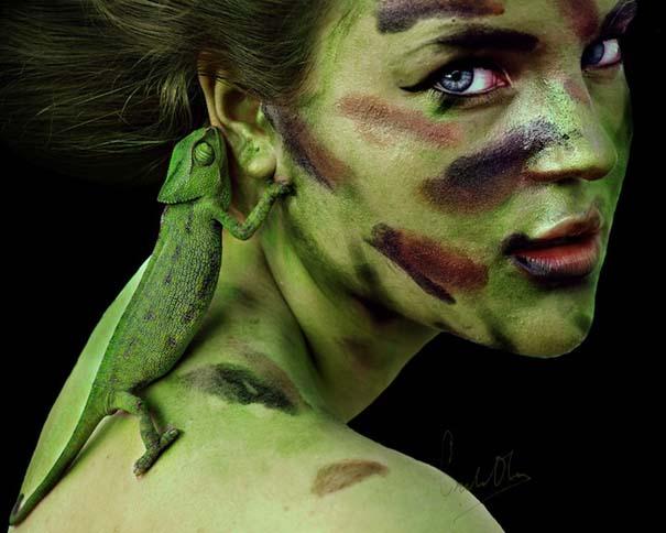 Κοπέλα καμουφλάρει τον εαυτό της για να μοιάζει με διαφορετικά ζώα (2)