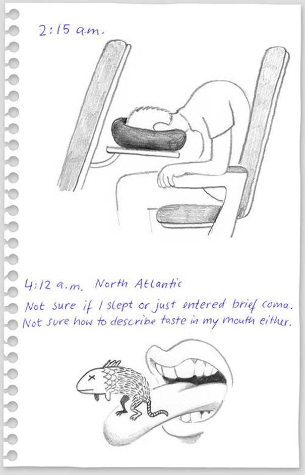 Η πτήση Νέα Υόρκη - Βερολίνο μέσα από το ημερολόγιο με σκίτσα ενός επιβάτη (4)