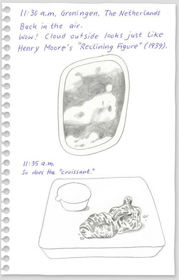 Η πτήση Νέα Υόρκη - Βερολίνο μέσα από το ημερολόγιο με σκίτσα ενός επιβάτη (13)