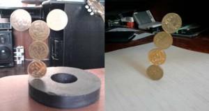 Πως ένας μαγνήτης μπορεί να κάνει μερικά κέρματα να σταθούν σε απίστευτα σχήματα
