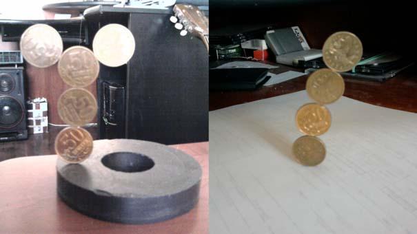 Πως ένας μαγνήτης μπορεί να κάνει μερικά νομίσματα να σταθούν σε απίστευτα σχήματα (1)