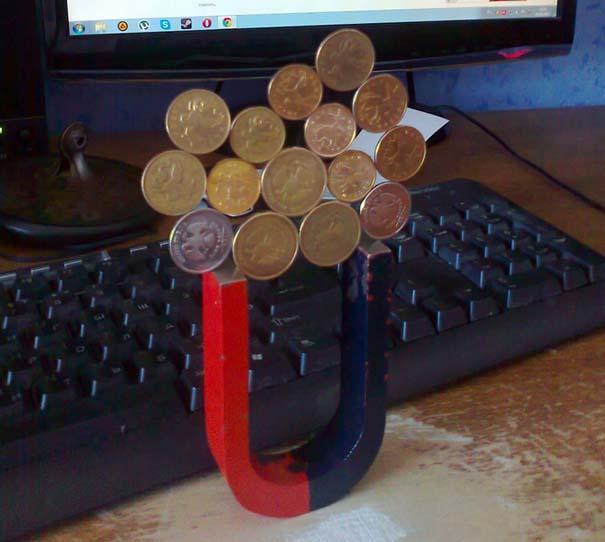 Πως ένας μαγνήτης μπορεί να κάνει μερικά νομίσματα να σταθούν σε απίστευτα σχήματα (2)