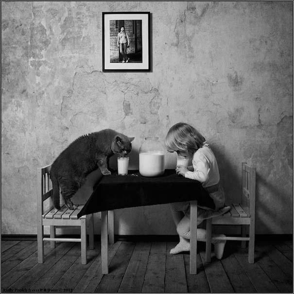 Η όμορφη φιλία ενός κοριτσιού και της γάτας της (2)