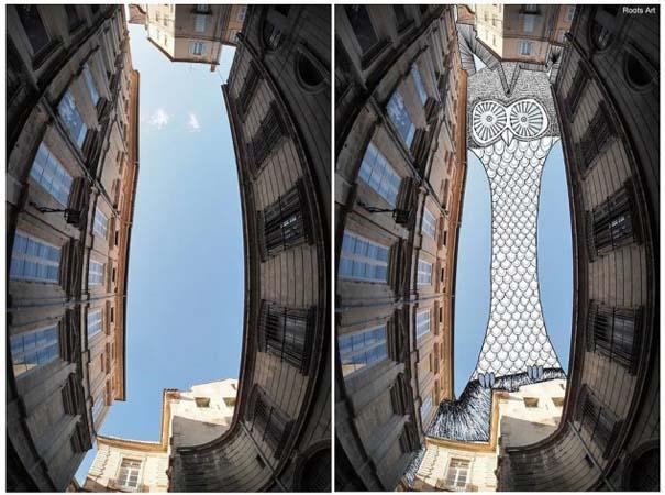 Καλλιτέχνης μετατρέπει τον ουρανό μεταξύ κτηρίων σε γεμάτες φαντασία φιγούρες (2)