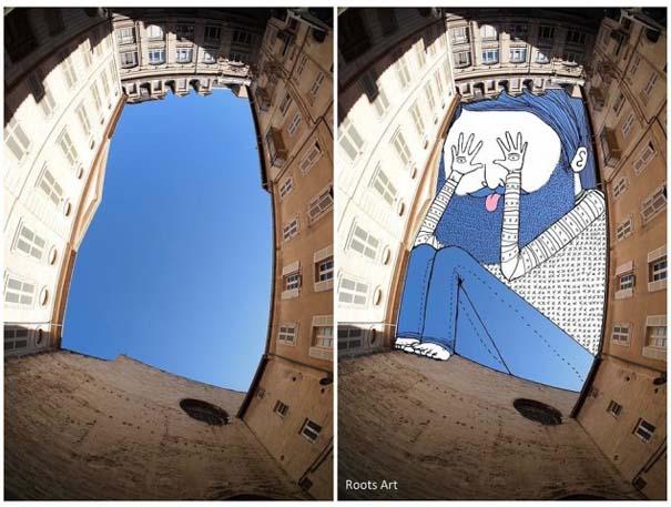 Καλλιτέχνης μετατρέπει τον ουρανό μεταξύ κτηρίων σε γεμάτες φαντασία φιγούρες (3)