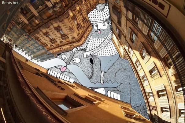 Καλλιτέχνης μετατρέπει τον ουρανό μεταξύ κτηρίων σε γεμάτες φαντασία φιγούρες (4)