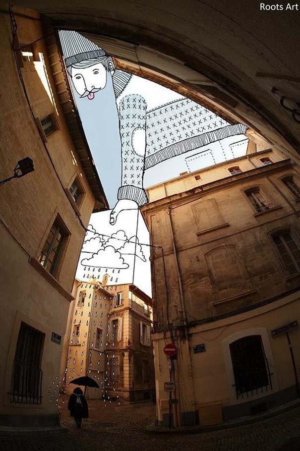 Καλλιτέχνης μετατρέπει τον ουρανό μεταξύ κτηρίων σε γεμάτες φαντασία φιγούρες (5)