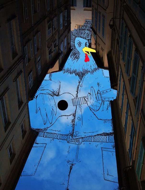 Καλλιτέχνης μετατρέπει τον ουρανό μεταξύ κτηρίων σε γεμάτες φαντασία φιγούρες (8)
