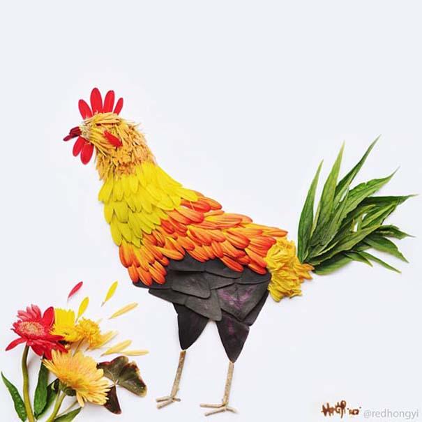 Εξωτικά πουλιά φτιαγμένα από πέταλα λουλουδιών (1)