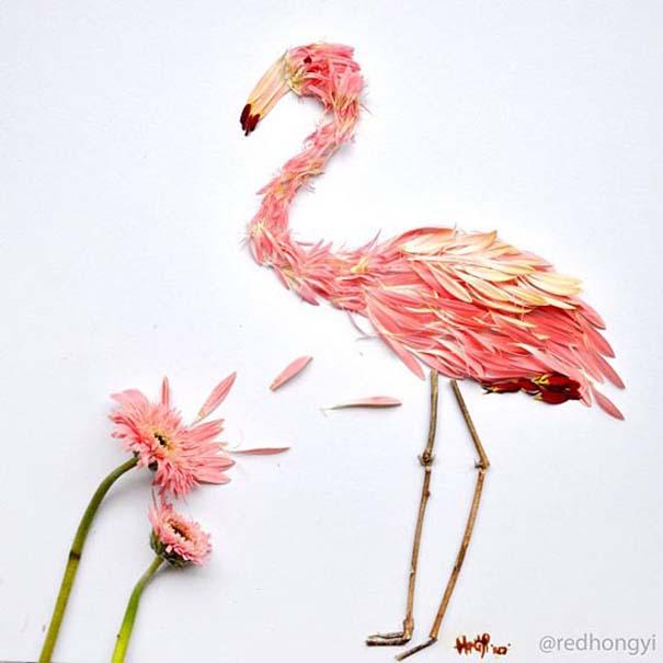 Εξωτικά πουλιά φτιαγμένα από πέταλα λουλουδιών (2)
