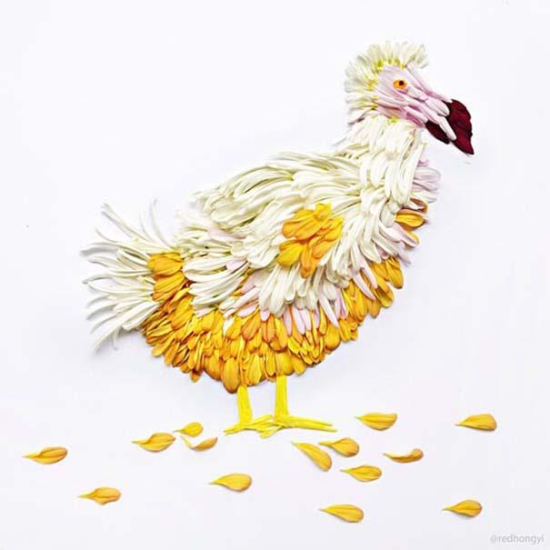 Εξωτικά πουλιά φτιαγμένα από πέταλα λουλουδιών (4)