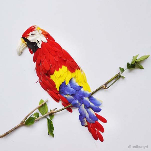 Εξωτικά πουλιά φτιαγμένα από πέταλα λουλουδιών (5)