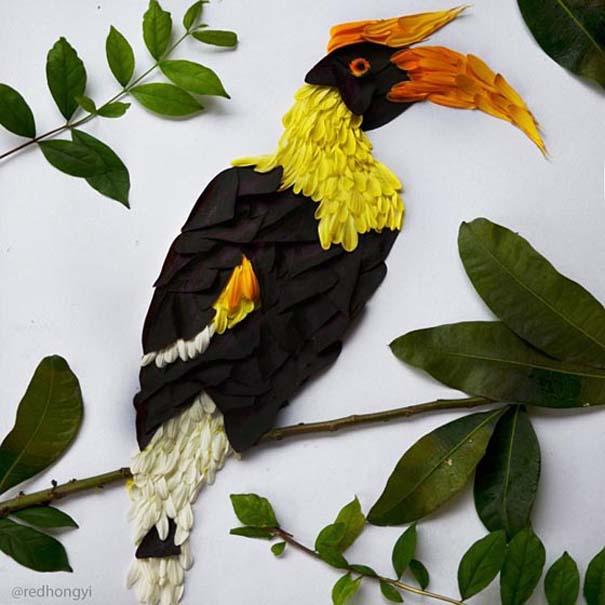 Εξωτικά πουλιά φτιαγμένα από πέταλα λουλουδιών (7)