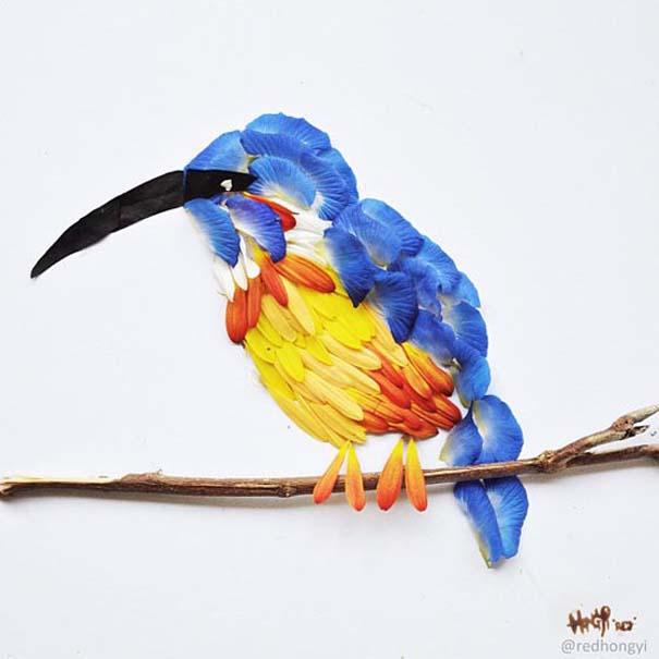 Εξωτικά πουλιά φτιαγμένα από πέταλα λουλουδιών (8)