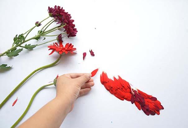 Εξωτικά πουλιά φτιαγμένα από πέταλα λουλουδιών (9)