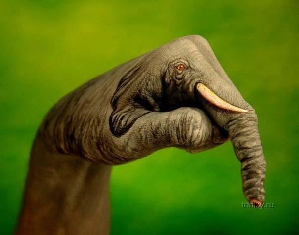 Απίστευτες ζωγραφιές ζώων σε ανθρώπινα χέρια (14)