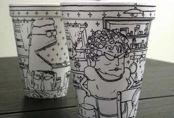 Εντυπωσιακή τέχνη σε ποτήρια του καφέ (2)