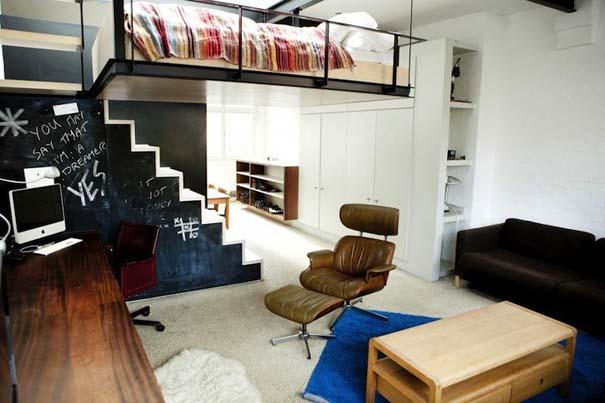 diaforetiko.gr : diamerisma sto londino me kremasto krevati 05 Διαμέρισμα στο Λονδίνο με πρωτότυπο κρεμαστό κρεβάτι!