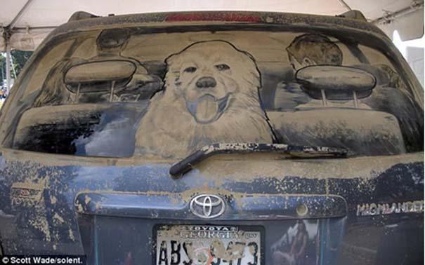 Έργα τέχνης σε σκονισμένα αυτοκίνητα (1)