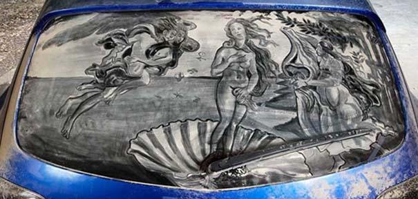 Έργα τέχνης σε σκονισμένα αυτοκίνητα (2)