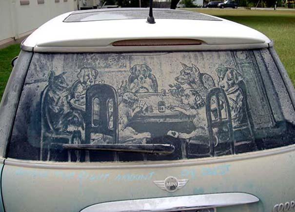 Έργα τέχνης σε σκονισμένα αυτοκίνητα (6)