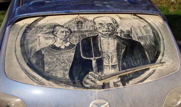 Έργα τέχνης σε σκονισμένα αυτοκίνητα (9)
