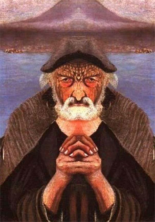 Καθρέφτης μετατρέπει τον παλιό πίνακα ζωγραφικής ενός ψαρά σε διάβολο (2)